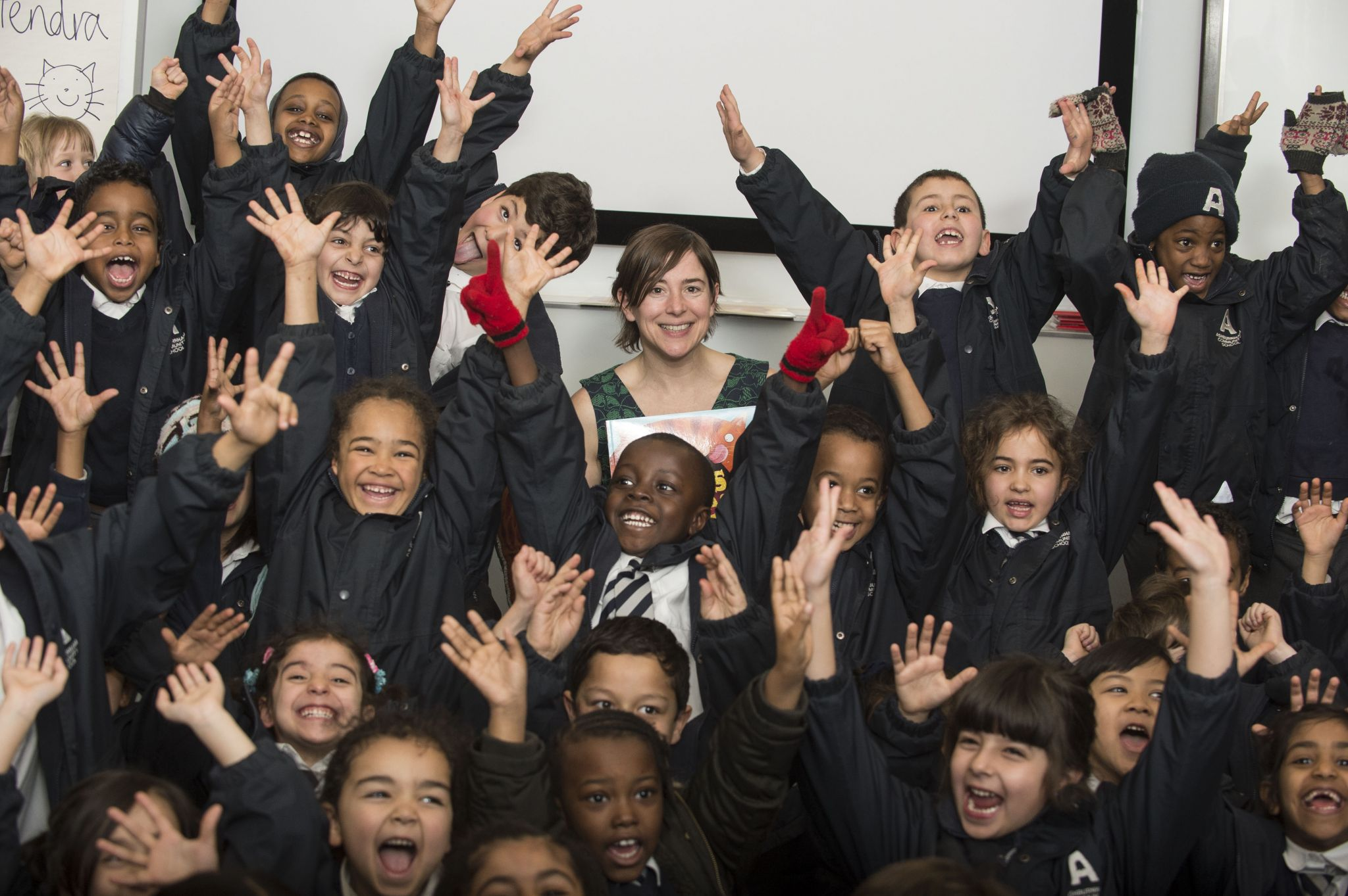 World Book Day - Sue Hendra gives a reading of Dave's Big Breakfast to School children, London, England, 05.03.14